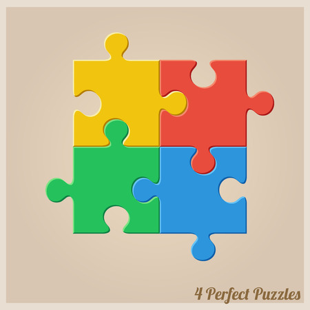 piezas de puzzle: Ilustración del vector con piezas de rompecabezas. Trabajo en equipo de diseño infográfico Vectores