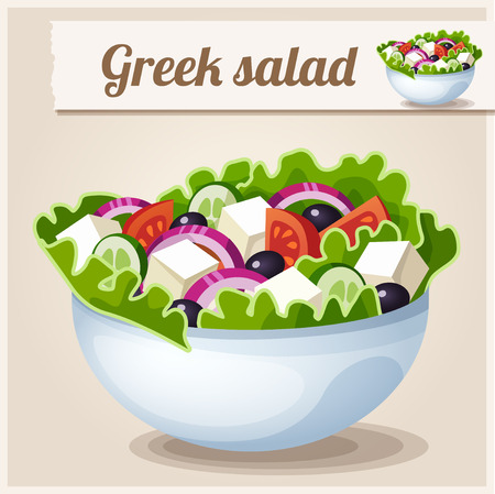 cartoon tomato: Detailed Icon. Greek salad.