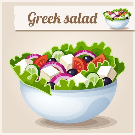 salad in plate: Icono detallado. Ensalada griega. Vectores