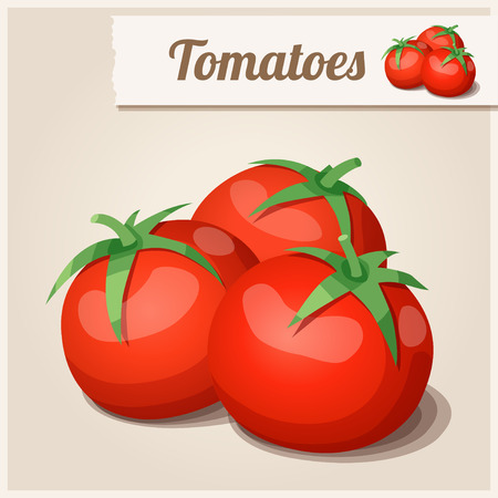 cartoon dinner: Detailed Icon. Tomatoes.