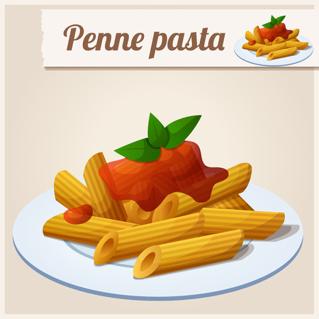 eat cartoon: Detailed Icon. Penne pasta with tomato sauce