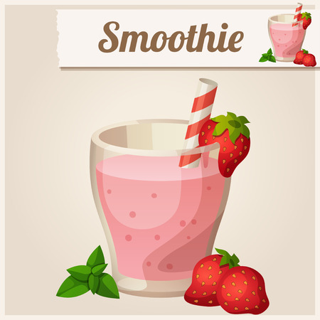 fruit smoothie: Detailed Icon. Strawberry smoothie.