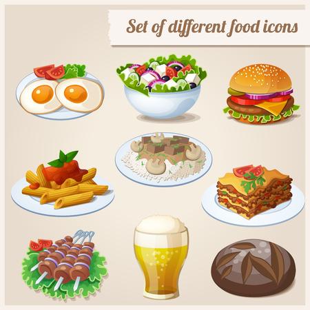 Brood, gebakken eieren, glas bier, hamburger, Griekse salade, rundvlees stroganoff, lasagne, shashlik, penne pasta