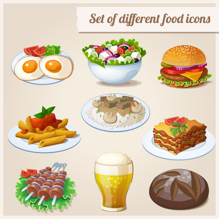 lasagna: Loaf of bread, fried eggs, glass of beer, hamburger, greek salad, beef stroganoff, lasagna, shashlik, penne pasta Illustration