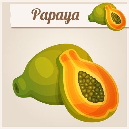 comiendo frutas: Icono detallado. Papaya. Vectores