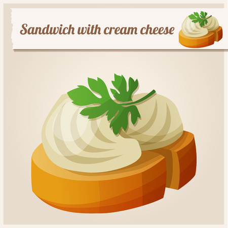cream cheese: Detailed Icon. Sandwich with cream cheese.