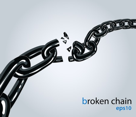 chain link: Vector illustration. Symbol of disconnect, freedom, exploding or unleashed