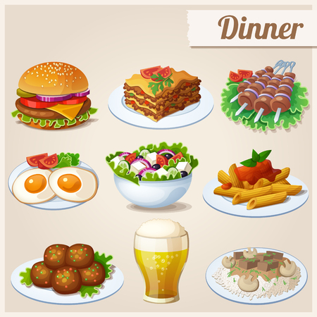 Fried eggs, glass of beer, hamburger, greek salad, beef stroganoff, lasagna, shashlik, penne pasta, meatballs Ilustração
