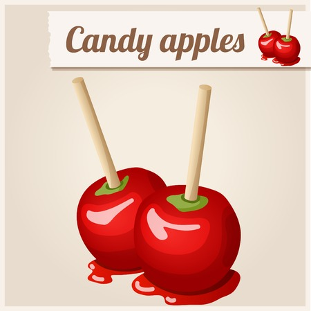 caramelo: Icono detallado. Manzanas de caramelo. Vectores