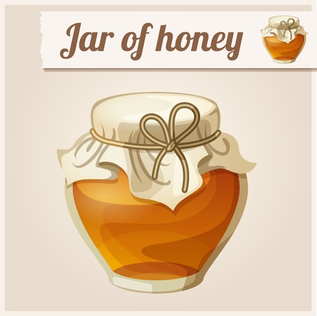 cartoon insect: Detailed Icon. Jar of honey.