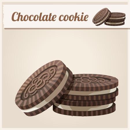 galleta de chocolate: Serie de alimentos y bebidas y los ingredientes para cocinar. Vectores