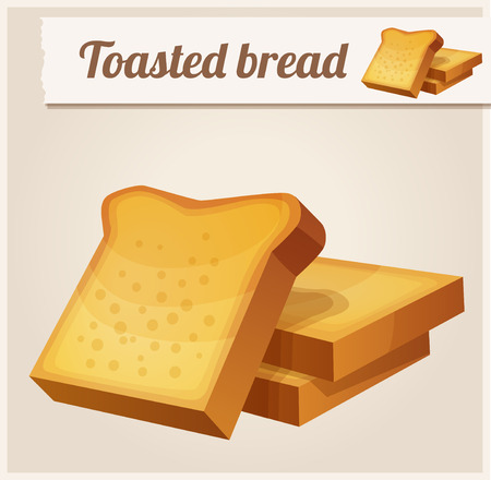 toasted bread: Toasted bread. Detailed Vector Icon