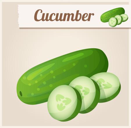 Komkommer. Gedetailleerde Vector Icon Stock Illustratie