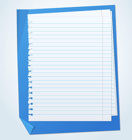 old notebook: Lined exercise sheets and sheet of blue paper with crumpled edges Illustration