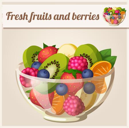 신선한 과일과 딸기 샐러드 일러스트
