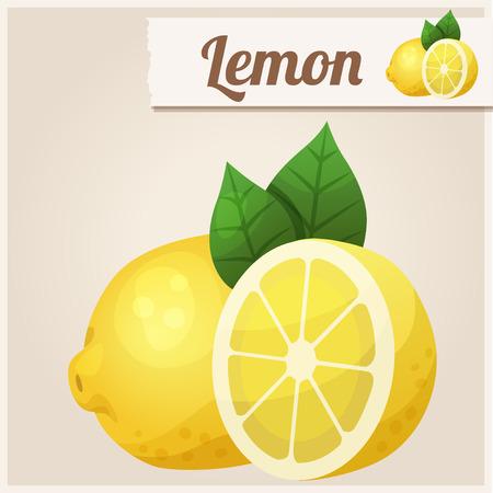 sliced fruit: Lemon. Detailed Vector Icon Illustration