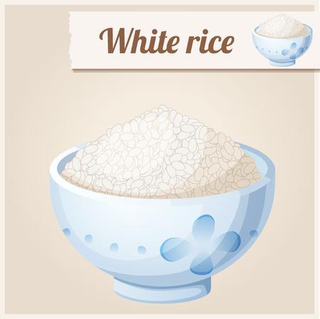 jasmine rice: Bowl of white rice. Detailed Vector Icon Illustration