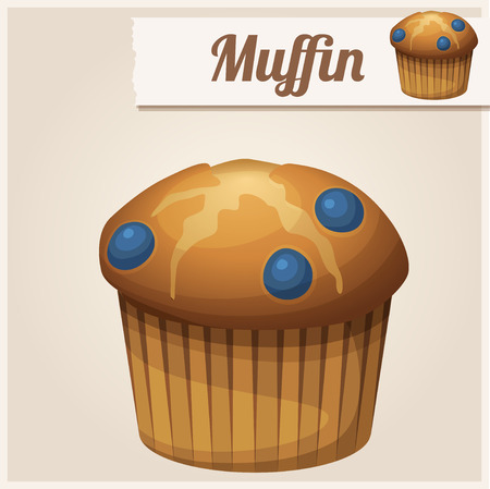 muffin: Muffin with blueberry. Detailed Vector Icon Illustration