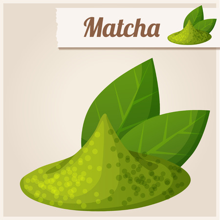 dry powder: Green matcha tea. Detailed Vector Icon Illustration