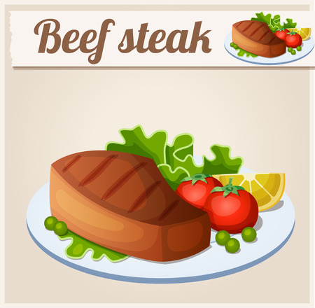 cooked meat: Beef steak. Detailed Vector Icon. Series of food and drink and ingredients for cooking.