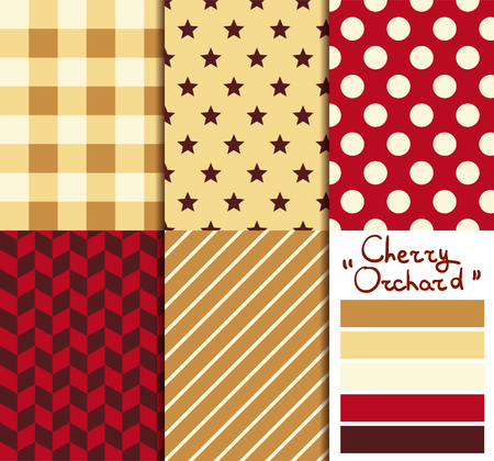 orchard: Set of 5 simple seamless geometric patterns. Cherry orchard color palette. Illustration