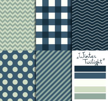 Set of 5 simple seamless geometric patterns. Winter twilight color palette.