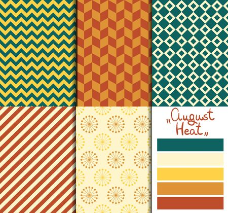 Set of 5 simple seamless geometric patterns. August heat color palette. Vector