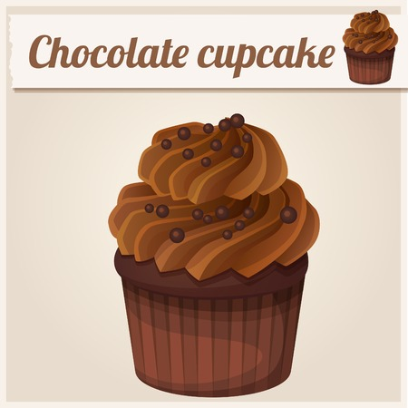 Chocolade cupcake. Gedetailleerde Vector Icon