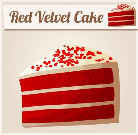 porcion de torta: Pastel de terciopelo rojo. Icono vectorial detallada Vectores