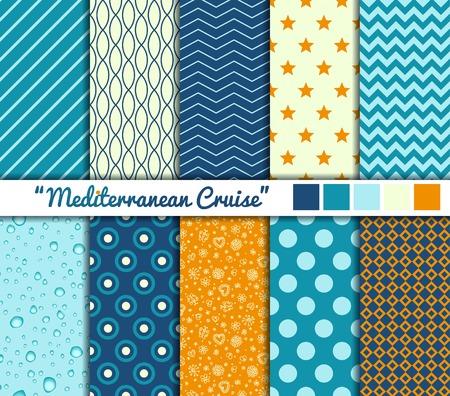 Set van 10 eenvoudige naadloze patronen. Middellandse Zee Cruise kleurenpalet.
