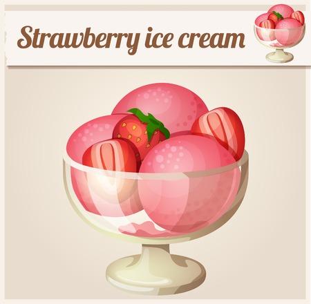 Strawberry ice cream. Detailed Vector Icon