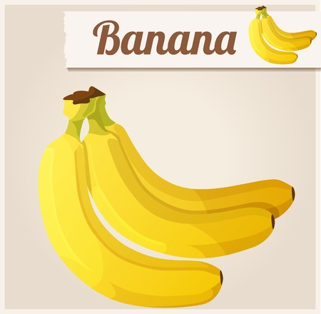 diet cartoon: Banana.  Detailed Vector Icon