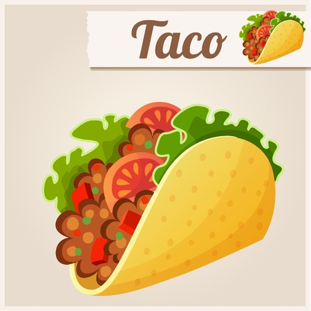 mexican food plate: Series of food and drink and ingredients for cooking. Illustration