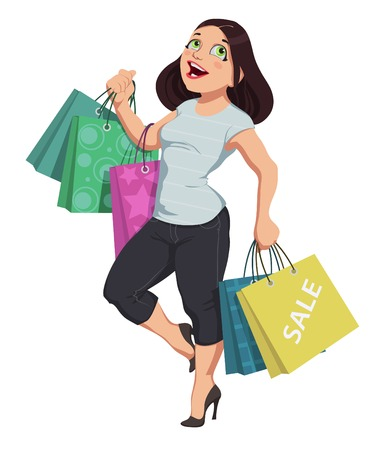 vector girl: Vector illustration of cartoon shopping girl Illustration