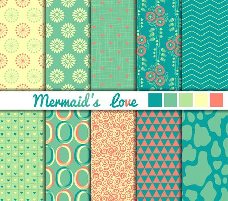 color illustration: Set of 10 simple seamless patterns. Mermaids Love color palette. Illustration
