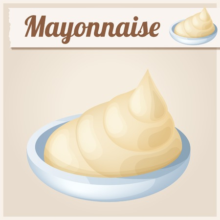 salad dressing: Mayonnaise. Detailed Vector Icon. Series of food and drink and ingredients for cooking. Illustration