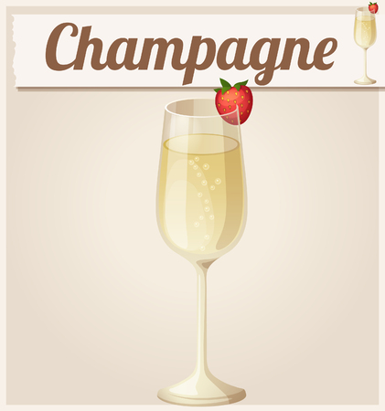 champagne glass: Champagne with strawberry. Detailed Vector Icon. Series of food and drink and ingredients for cooking. Illustration