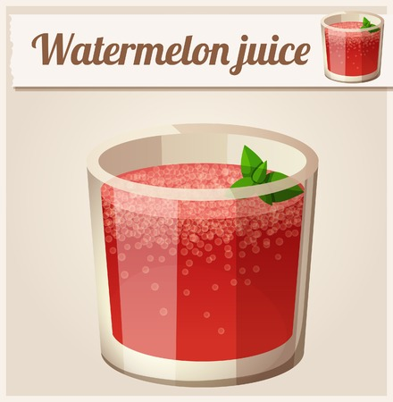 fruit in water: Watermelon juice. Detailed Vector Icon. Series of food and drink and ingredients for cooking. Illustration