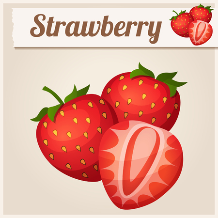 Three strawberries. Detailed Vector Icon. Series of food and drink and ingredients for cooking.