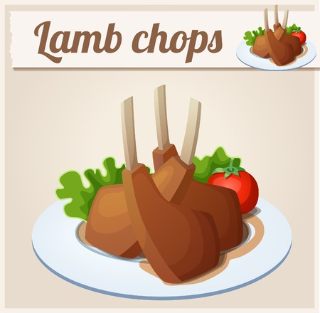 lamb cartoon: Lamb chops. Detailed Vector Icon. Series of food and drink and ingredients for cooking.