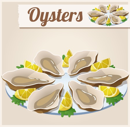 platter: Oysters. Detailed Vector Icon. Series of food and drink and ingredients for cooking.