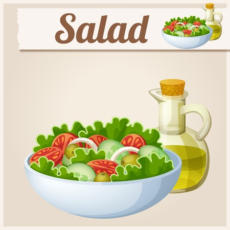 eating healthy: Fresh salad with olive oil. Detailed Vector Icon. Series of food and drink and ingredients for cooking.