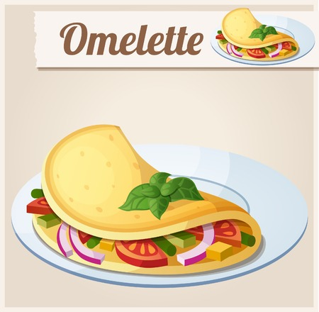 omelette: Omelette with vegetables. Detailed Vector Icon. Series of food and drink and ingredients for cooking.