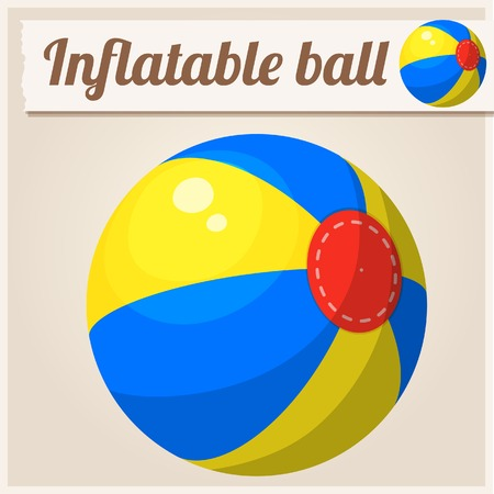 inflatable ball: Inflatable beach ball. Cartoon vector illustration. Series of childrens toys