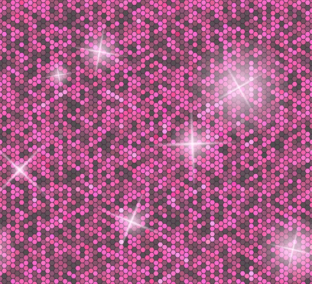 paillette: Pink seamless background with sequins. Glitter vector pattern.
