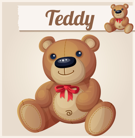 bear doll: Teddy bear with red bow. Cartoon vector illustration. Series of childrens toys Illustration