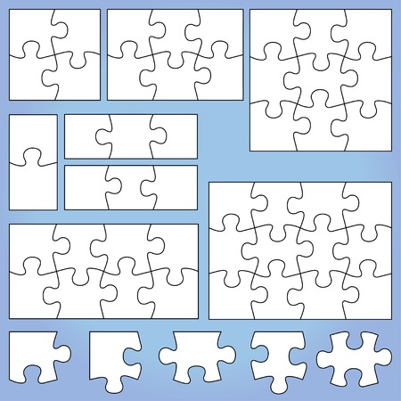 jigsaw puzzle pieces: Puzzle set Illustration
