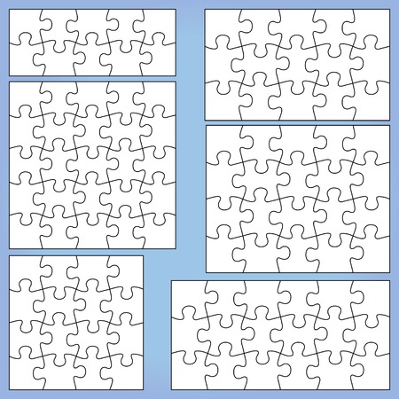 Puzzle set: 10, 15, 16, 18, 20, 25 pieces. Outline vector jigsaw.