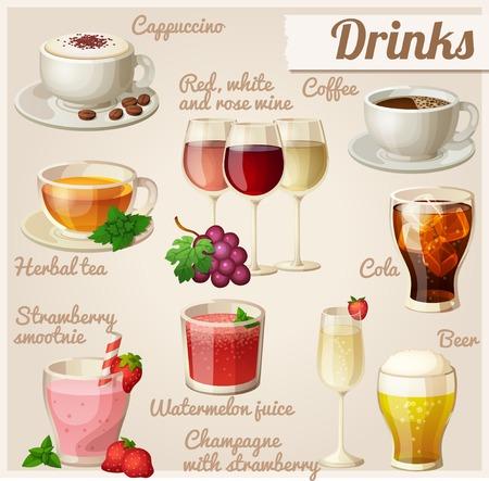 capuchino: Conjunto de iconos de alimentos. Bebidas.