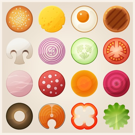 carrot isolated: Set of food. Vector icons. Illustration